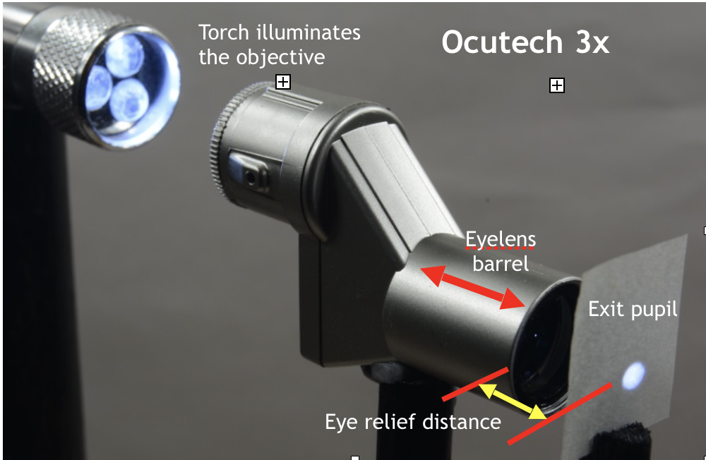 Image of telescope and separation between rear lens and real image of object